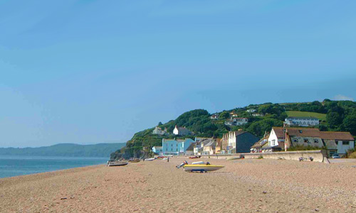 Beach at Torcross looking towards the village