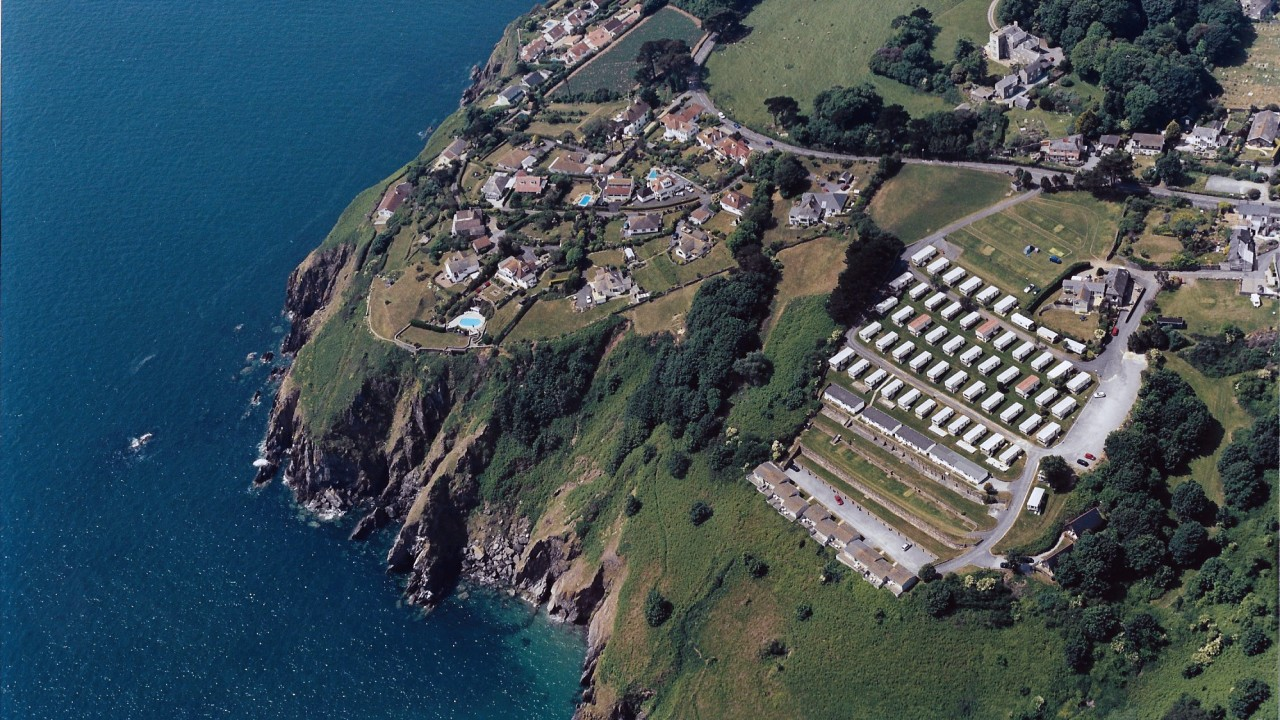 Aerial view of Leonards Cove camp site, Stoke Fleming from the B J Morris Collection